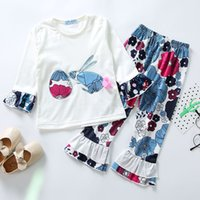 Wholesale baby clothing outfits online - Easter Baby girls rabbit outfits children bunny top Floral print ruffle pants set Spring Autumn kids Clothing Sets styles C6091