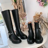 Wholesale heel iron boots for sale - Group buy designer cowhide Boots spring autumn luxury woman shoes fashion Iron chain High Boots Leather zipper Motorcycle boots size US10