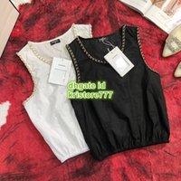 metallkettenstickerei großhandel-Frauen Sommer Brief Stickerei Weste T-Shirt Metallkette Side Scoop Neck Leibchen T Mädchen Die Top Qualität Shirt Ärmellose Weibliche T-Shirts