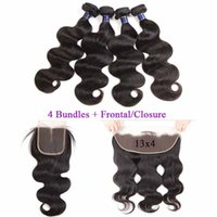 Wholesale wet wavy human hair extensions for sale - Group buy Brazilian Human Hair Body Wave Bundles with Closure Wet and Wavy Brazilian Hair Weaves Bundles With x4 Frontal Human Hair Extensions