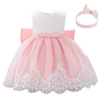 Wholesale summer baptism gown resale online - baby dress baby girl baptism gown christening dress bows girls dresses headband birthday baby girl designer clothe retail A8061