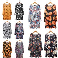 Wholesale flora costume for sale - Group buy Halloween women costume skirts Pumpkin ghost spider printed girls holidays dress styles fast shipping DHL free