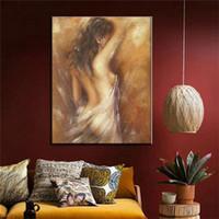 ingrosso nude immagini donne-La donna di balneazione CANVAS pittura dipinta a mano retrò dipinti d'epoca nudo speciale regalo di arte della parete per la decorazione domestica immagine nuda