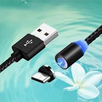 cable magnético usb tipo c al por mayor-3 en 1 magnética cable cargador rápido de la línea 2A de nylon imán rápida cable de carga 1M Tipo C Micro Cables USB para Samsung