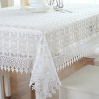 cobertores de mesa branca casamentos venda por atacado-Toalhas de mesa de renda branca para casamentos florais bordados tampa da mesa de jardim retângulo / quadrado toalha de mesa decorativa para móveis