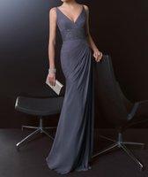 vestidos elegantes venda por atacado-Elegante 2019 Longo Chiffon Vestido De Noite Para A Mãe Com Decote Em V Até O Chão Sereia Vestidos de Baile Baratos Formal Vestido de Festa Com Contas Robe Soiree