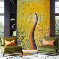 para ağaç sanatı toptan satış-Özel Duvar Kağıdı Avrupa HD Stereoskopik Yağlıboya Para Ağacı Sanat Duvar Duvar Giriş Yatak Odası Ev Dekorasyon Boyama