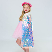 Wholesale costume cloaks capes for sale - Group buy Girls Cosplay Princess Cloak Sequins Colorful Mermaid Mantillas Cape Halloween Party Cape Cosplay Costume Props