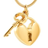 Wholesale matches necklace resale online - LKJ11532 Gold Key Charm Match Heart Cremation Pendant Hold Loved One s Ashes Stainless Steel Cremation Jewelry Funeral Urn
