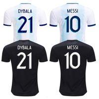 argentinien zuhause großhandel-19-20 Neue Saison Argentinien Trikots Argentinien Heimtrikot MESSI AGUERO DYBALA DI MARIA Auswärtstrikot Top Thail Unifo