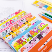 kawaii publicar marcadores al por mayor-Marcadores del Bloc de notas kawaii lindo creativo índice de animales Notas Adhesivas lo publicó Planificador Papel de la escuela suministros de papel pegatinas