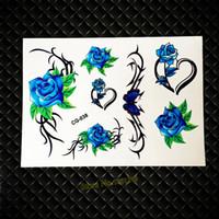 roses roses roses achat en gros de-Tatouage temporaire de fleur bleue de la mode 3D pour le maquillage des femmes GCG-038 Sexy Girls henné Roses Design coeur tatouage sur le bras du corps Tatoo
