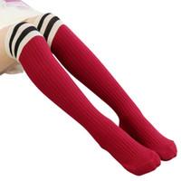 Wholesale baby knee socks for boy resale online - New Girls Knee High school Socks For Baby Boys Cotton Lovely Stripe Over Knee Socks For Princess Girls Long High Sock Y HOT