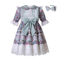 yeni müslüman gelinlik toptan satış-Yeni 2-14Y Müslüman Bebek Kız Korumak Için Düğün Çiçek Baskılı Gül Nakış Elbise Çocuk (Diz Boyu altında Elbise)