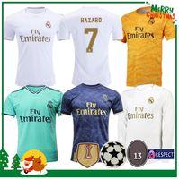 ingrosso uniforme camicia lunga-19 20 Real Madrid Soccer Jersey 2019 2020 HAZARD Home KROOS ISCO Modric Football uniforme Uomo adulto Portiere Maglia da calcio Manica lunga
