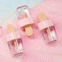 insertar goma al por mayor-Forma 3.2x6.8cm dulce helado mini brillo de labios tubo vacío tapa Crema de cacao Envase Con inserciones de goma rosado del lápiz labial de Botellas de muestra