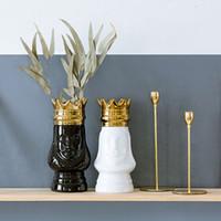 ingrosso vasi di fiori d'oro-Vaso da tavolo King e Queen Gold Golden Crown Light Luxury vaso decorativo Flower Flower Disposizione bottiglia Artigianato in ceramica