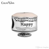 kek takılar toptan satış-Pandora Bilezik uyar Charms Boncuk Takı Yapımı için Mutlu Doğum Günü Pastası Gümüş Charm Ayar-Gümüş-Takı DIY Boncuk
