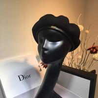 ingrosso signora del cappello del berreto-Berretto da marea traspirante di design retrò di lusso berretto autunno e inverno da donna tridimensionale tinta unita britannico pittore a maglia cappello
