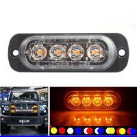 4pcs 12-24V Truck Car 4 LED Flash 12w Strobe Emergency Warning Light Flashing Lights