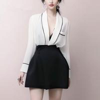 черные мини-юбки оптовых-Elegant Office 2 Piece Outfits For Women 2019 White V-neck Long Sleeve Top+ High Waist Black Mini Skirt Two Piece Sets