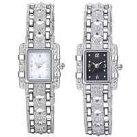 enlace reloj de cuarzo al por mayor-Gran moda mujeres Rectangular Dial aleación vinculada correa banda analógico reloj de pulsera de cuarzo