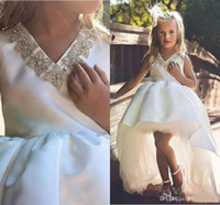 Wholesale girls pageant dresses royal blue bead resale online - Lovely White Flower Girl Dresses With Beaded Collar Crystal hi Lo Princess Kid Formal Wear cheap Girls Pageant dress