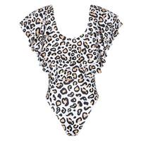 monokini drucken großhandel-Sommer Mutter One Piece Bikini Schulterfrei Tiered Rüschen Volant Monokini Retro Boho Leopard gedruckt Badeanzug