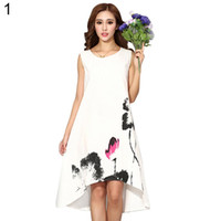 be38aeed5d91 2019 Spring White Dress Women vintage traditional chinese painting lotus  floral print long dress