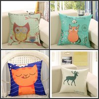 Wholesale padded pillow case resale online - Square Flax Printed Pillowcase Owl Home Cushion Cover Animal Pad Pillow Covers Car Pillow Cases Classic Hot Sale ymb1
