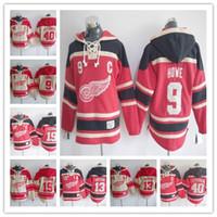 sudadera roja con capucha al por mayor-Sudadera para hombre New Detroit Red Wings Jersey # 71 Hoody 40 Henrik 9 Gordie Howe 8 Justin Abdelkader 19 Steve Yzerman Hoodies Jerseys