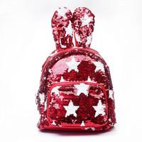 Wholesale cute girl star online - Sequins Backpack Cute Rabbit Ears Shoulder Bag for Teenage Girls School Bag Bling Rucksack Shiny Backpacks MMA1365