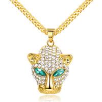 colar de jóias cabeça leopardo venda por atacado-Hip Hop Verde Eyed Leopard Cabeça Pingente Colares de Alta Qualidade Banhado A Ouro Rhinestone Colares Para Homens Moda Jóias
