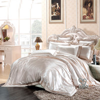 Wholesale silk tencel bedding sets for sale - Group buy Luxury Palace Style Mulberry Silk Tencel Jacquard Bedding Sets Duvet Cover Sheets Pillowcase King Size Paisley Floral Super Soft
