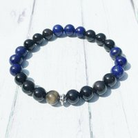 Wholesale lapis lazuli gem resale online - MG0454 Men s Energy Gem Stone Bracelet mm Golden Obsidian Bracelet High Quality Lapis Lazuli Attack Protection Bracelet