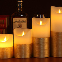 Wholesale scented colored candles for sale - Group buy 3pcs Gold And Ivory Led Candles Remote Control Pillar Candle Velas Bougie Lighter Lamp Scented Candle For Wedding Decoration