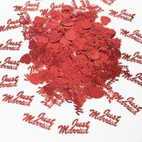 ingrosso decorazioni da tavolo da party-150g Red Just Married Letter Table Spargimento di matrimonio anniversario Sprinkle Engagement Love Heart Wedding Party Confetti Decoration