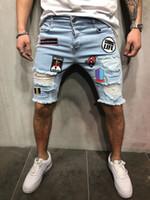 joelho comprimento denim capris venda por atacado-Jeans Slim Shorts Homens Marca Rasgado Verão Capri Moda Masculina Motociclista Casual Elasticidade Afligido Buraco Na Altura Do Joelho Azul Denim Curto Jean