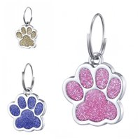 colgantes de gato de aleación de zinc al por mayor-Bardian Glitter Powder Paw Prints Mascotas Colgantes Aleación de zinc Dog Tag Pet Puggy Cat ID Card Tags Fit Outdoor 1 2ct E1