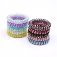 Wholesale paper glitter free for sale – best Free DHL INS CM Glitter Metal Punk Hair Coil Ties Rubber Elastic Hair Bands Rope Ponytail Holders Girls Womens Hair Accessoires