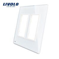 sockets de gafas al por mayor-Livolo US Standard Luxury White Pearl Crystal Glass, 2 Frame Glass Panel para toma de interruptor de pared táctil