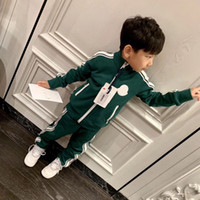 Wholesale boys clothing sets army resale online - Baby Girls boys Sport Suits Spring autumn Children Long Sleeve Zipper Coat Pant Casual Tracksuit boys Clothing Set