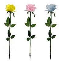 linternas de rosa al por mayor-Rose Lantern With Leaves Paño de seda Led Light Red Yellow Blue Color Lámpara de pie Fit Outdoor Landscape Square Garden Decor 4 1jy E1