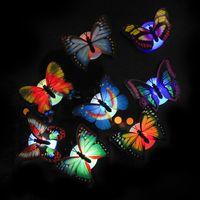 волоконно-оптические огни свадьбы оптовых-Красочный волоконно-оптический ночной свет бабочки LED ночной свет бабочки для свадебной комнаты ночной свет для детской комнаты