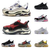 chaussures à lacets brodés chinois achat en gros de-2020 balenciaga triple s ancien Plate-forme des chaussures de designer pour hommes femmes luxe formateurs grande semelle baskets de sport vintage tripler noir blanc de race 20fw