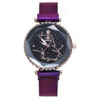 oberflächenarmbanduhren großhandel-Mode Mesh Frauen Uhr Sternenhimmel Magnet Geometrische Oberfläche Damen Kleid Quarz Armbanduhr Weibliche Armbanduhren Bayan Kol Saati