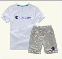 ingrosso vestiti di marca bebe-T-shirt e pantaloncini di marca per bebè e ragazzi Tute di marca per bambini 2 Abbigliamento per bambini Set T-shirt per bambini T52127