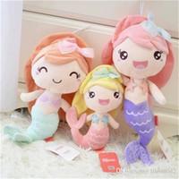 pequeños juguetes de peluche sirena al por mayor-20170718 The Hot Sales Lovely Mermaid Princess Peluches Peluches niña Niña Muñecas Widgets para niños Regalo de cumpleaños Envío gratis