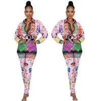 Wholesale free set clothes for sale - Group buy Free Ship Women Fashion Print Lapel Neck Shirt and Pants Set Lady Outfits Casual Clothes Set XXL