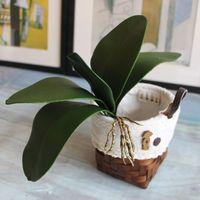 hoja de orquídea al por mayor-Hoja artificial de plantas toque real phalaenopsis hojas decorativas flores falsas material auxiliar decoración de flores Hojas de orquídeas C18112601
